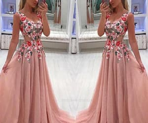 long prom dresses, v neck prom dresses, and lace evening dress image