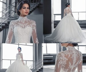 beauty, bridal gown, and wedding image