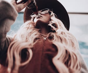 blonde hair, drink, and fashion image