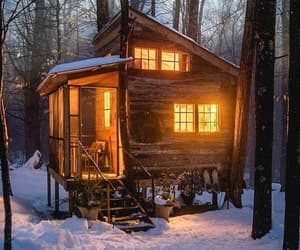 cottage, forest, and snow image