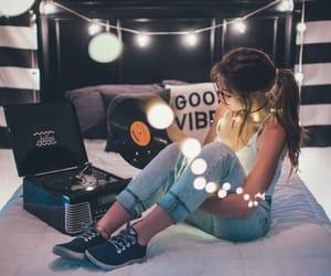 girl, light, and music image