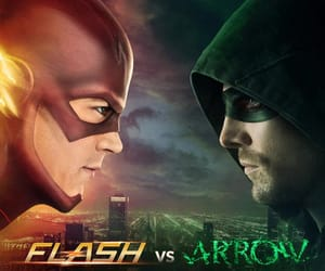 the flash, oliver queen, and barry allen image