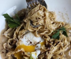 new york, pasta, and poached egg image