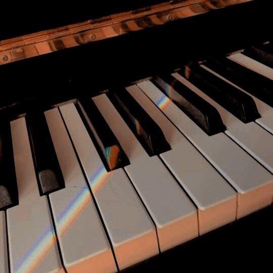 music, piano, and rainbow image