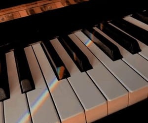 music, piano, and rainbow image
