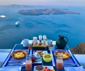 food, breakfast, and blue image