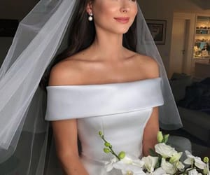beauty, veil, and wedding dress image