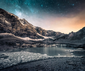 mountains, stars, and beautiful image