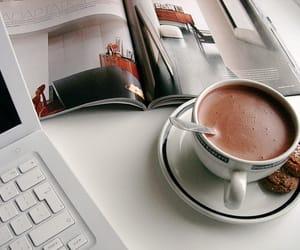 coffee, magazine, and chocolate image