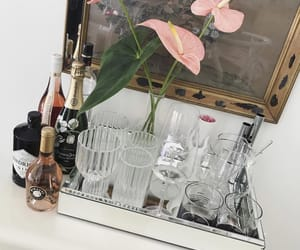 champagne, crystals, and flowers image