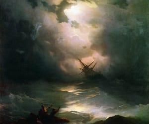 sea, shipwreck, and storm image