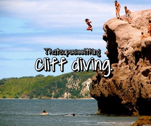 beach, cliff diving, and cool image