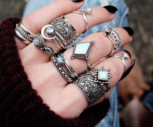 rings, nails, and black image