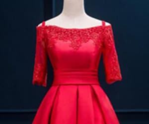 red prom dress, red lace prom dress, and prom dress lace image
