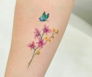 blue, butterfly, and flowers image