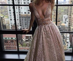 silver evening dresses, v-neck prom dresses, and custom prom dresses image