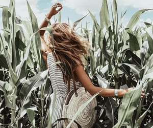 field, girl, and hair image