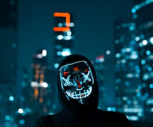 city, grunge, and neon lights image