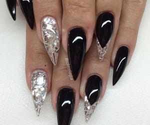 black, french tips, and black nails image