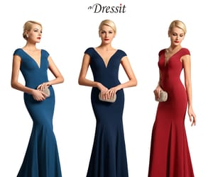 formal evening dress, mermaid party dresses, and v-cut image