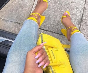 nails, yellow, and heels image