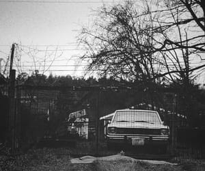 black and white, farm, and car image