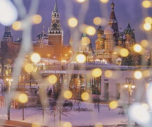 city, lights, and moscow image