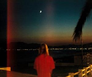 beach, girl, and moon image