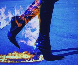 blue, fire, and high boots image