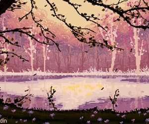 gif, pixel art, and lake image