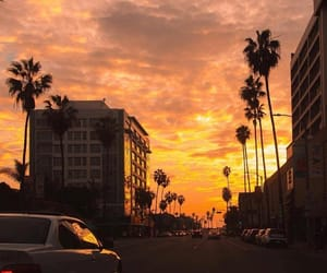 sunset, sky, and car image