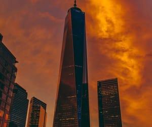 city, orange, and sunset image