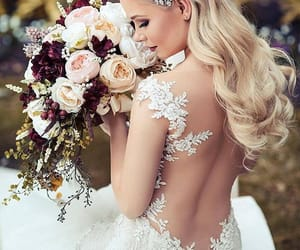 dress, wedding, and bouquet image