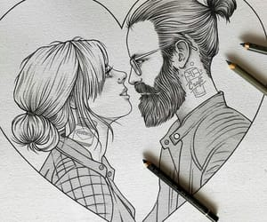 art, boy and girl, and drawing image