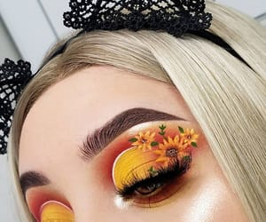 makeup, sunflower, and yellow image