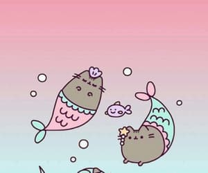 mermaid, pusheen, and cat image