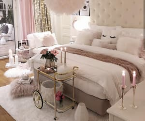 bed, candles, and chandelier image