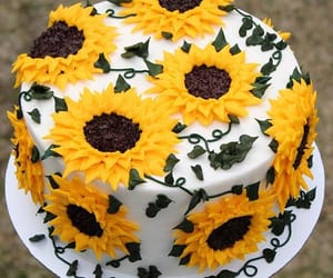 cake, food, and sunflowers image