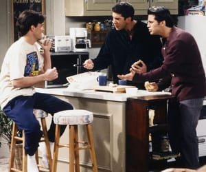 chandler bing, joey tribbiani, and ross geller image