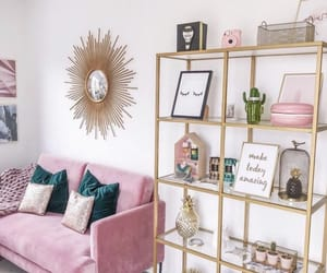 decor, pink, and living room image