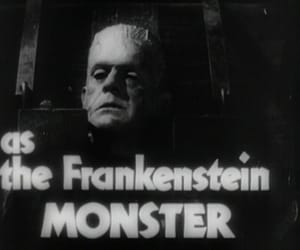 black and white, Boris Karloff, and horror image