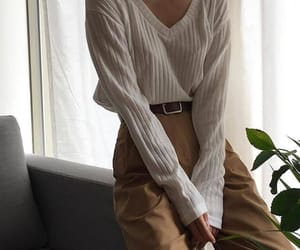 beige, girl, and korean fashion image