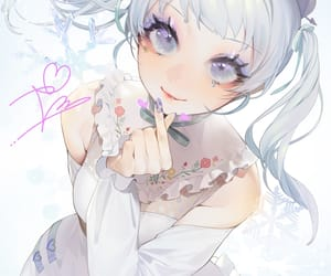 anime, dress, and snowflakes image