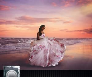 beach, sunset, and dress image