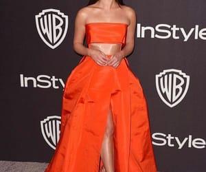 lea michele, orange dress, and red carpet image