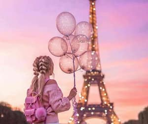 girl, balloons, and paris image