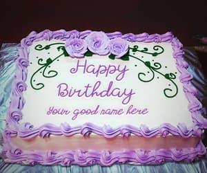 birthday cake with name and my name on pics image