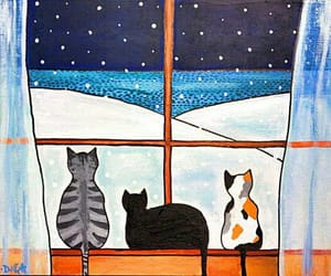 cats, snow, and winter image