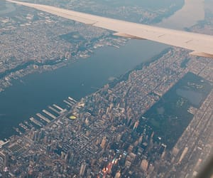air, plane, and new york image