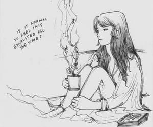 exhausted, sad, and coffee image